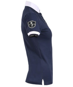Sporty classy stretchy showshirt with contrast trim details and logo on shoulder, changeable collar and crystal buttons