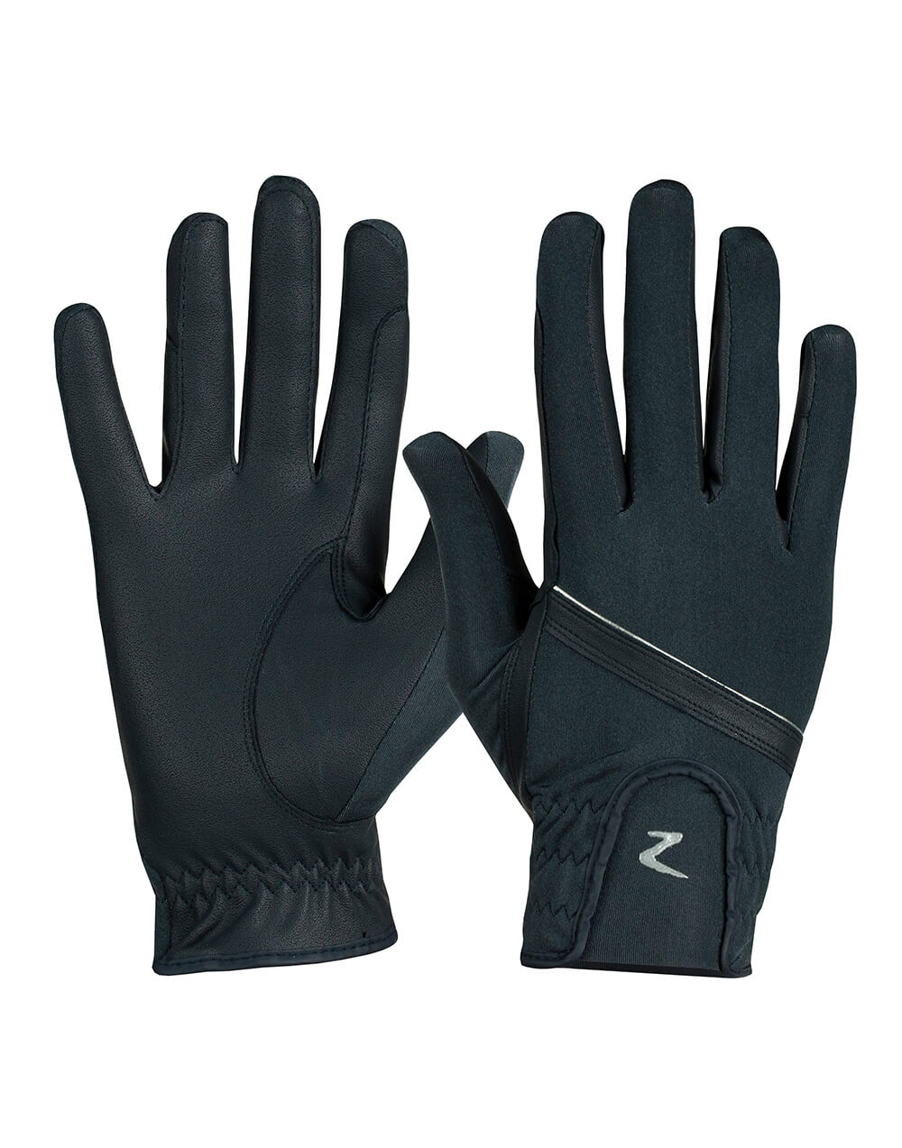 Classy lightweight and breathable lycra horse riding gloves with decorative silver stripe and horze logo and PU leather grip