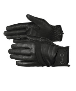 Breathable leather mesh horse riding gloves with crystal bit design