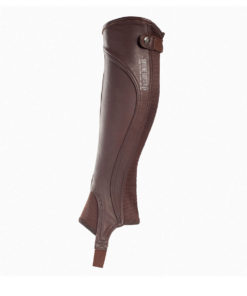 Sporty looking leather horse riding chaps or gaiters with elastic with the zipper at the back for a comfortable fit and to allow movement. Flattering fit