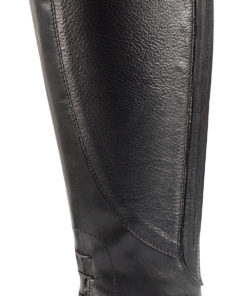 Elegant quality leather horse riding tallboot with zip and clip closure at the back, spur rests, elastic laces in front for easy movement and stylish pattern on foot area