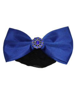 Classic black hairnet for bun with coloured bow and various crystal and bead finish in middle of bow