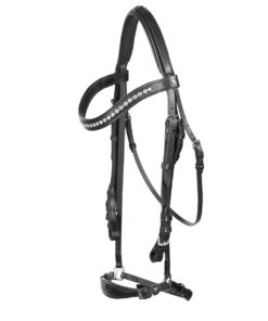 Classic soft and padded leather horse bridle with curved crystal browband and dropped noseband