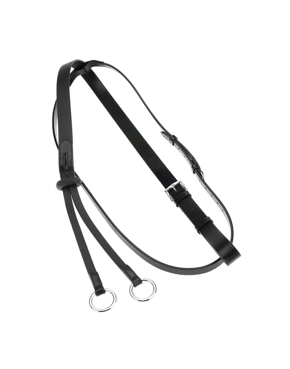 Leather running martingale with martingale rubber and adjustable straps for horse riding