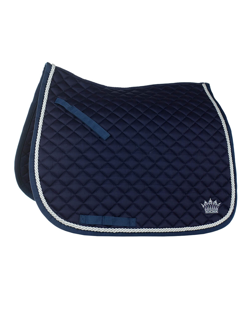 Durable well fitted quilted dressage horse riding numnah with thick silver cord, silver crown motif and a quick dry lining
