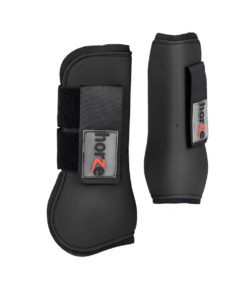 Neoprene lined horse tendon boots with double velcro strap and Horze logo