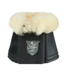 Elegant and durable PU leather overreach boots with fleece sheepskin lining for comfort and to prevent rubbing, double velcro closure for secure fit