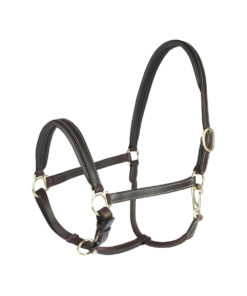 Durable high quality soft padded leather halter with stitching design and brass fittings. Adjustable at the nose and headpieces