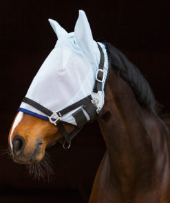 Soft durable mesh flymask with ears and soft neoprene lining, strong double velcro strap for secure fit