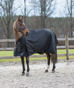 Waterproof breathable turnout rain sheet with gussets for easy movement, adjustable at chest and belly