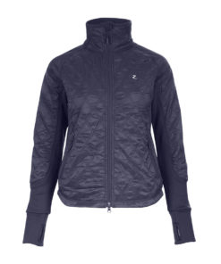 Light padded quilted long sleeved jacket with stretch fabric inserts for more comfortable fit and better movement and double zipper closure with zip pockets