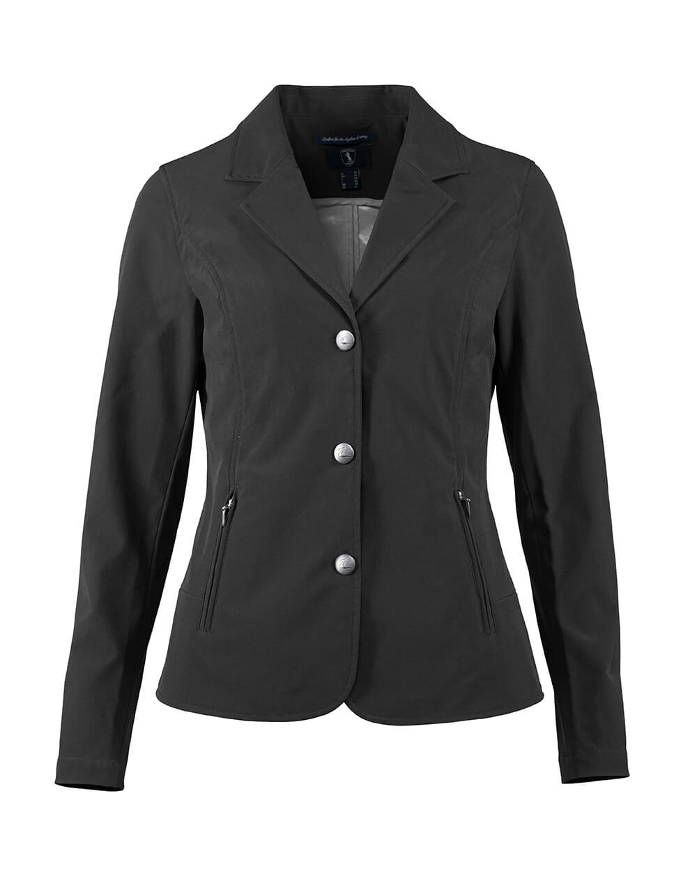 Elegant softshell show jacket with zip pockets and clip buttons ideal for horse shows and formal occasions