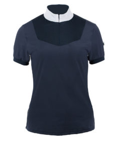 Lightweight highly breathable stretchy horse riding show shirt with a complete mesh back and mesh around the upper front of the chest. Contrast colour trim with badge on shoulder and zip closure in front