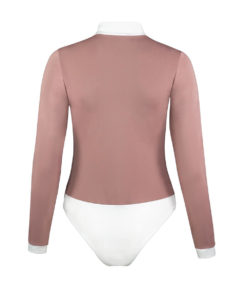 Elegant long sleeved bodysuit from thick silk like fabric with a stretch for comfortable fit and movement when horse riding and front zip closure