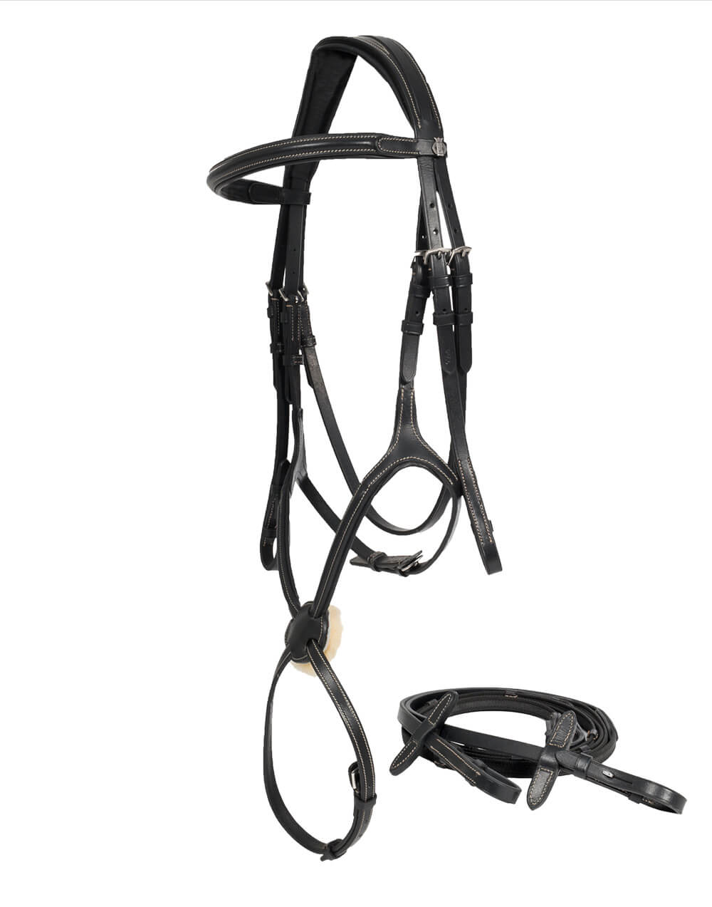 Quality leather bridle with mexican noseband, padded pollpiece and sheepskin padding on the noseband, stitching design. Comes with non slip cleated reins