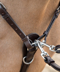 High quality padded and adjustable horse breastplate with running martingale attachment that can be clipped off