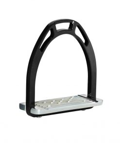 Solid aluminium horse riding stirrups with a wide non slip tread plate and different hole options for the stirrup leathers