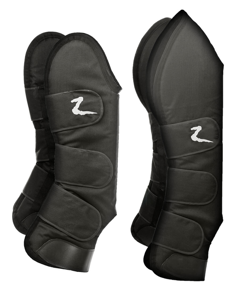 Durable and tough horse transport boots for travelling, reinforced at bottom, soft fleece padding on inside and strong velcro straps for a secure fit