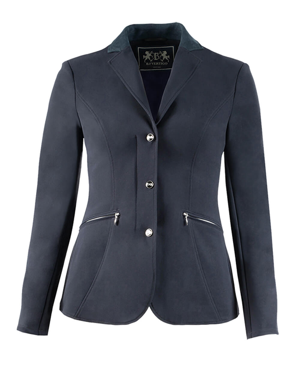 High class lightweight classy softshell showjacket with slanted zip front pockets, zip closure with clip buttons for a secure fit