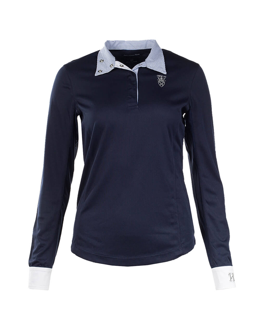 Light breathable long sleeved fitted show shirt with mesh under arms and flip down pattern collar that can be buttoned up with clip buttons. Long sleeves with clip buttons at cuffs