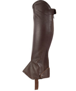 Soft pu leather chaps with elastic strip at the back with zip for easy and comfortable fit to improve movement. Clip at bottom and top to secure fit