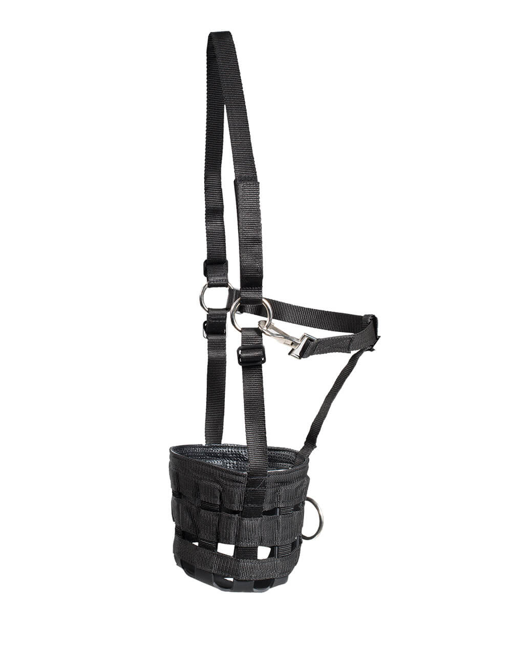Nylon horse muzzle with neoprene like padding for comfort and adjustable strap