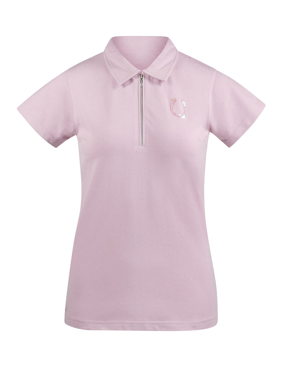 Classy cotton ladies shirt with zipper and sequin design