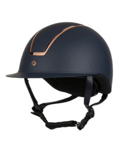 High Impact breathable horse riding shell helmet with sun visor and metal rose gold finish