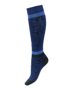 Knee high socks with bit design and stripe patterns