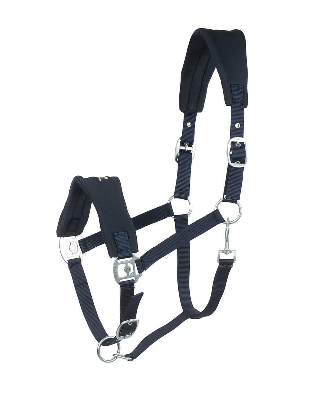 Soft padded adjustable horse halter in navy