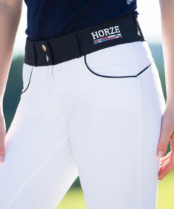 Mid rise with wide waist band silicone fullseat horse riding breeches with two tone colour
