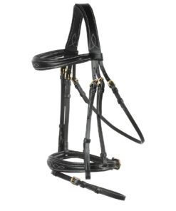 High quality well padded leather horse bridle with stitching design and rubberised reins