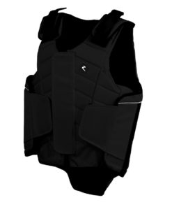Adult horse riding body protector with zip closure and adjustable velcro straps
