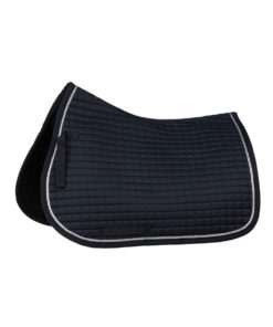 All purpose classic saddlepad with silver braiding, square quilts and quick dry lining