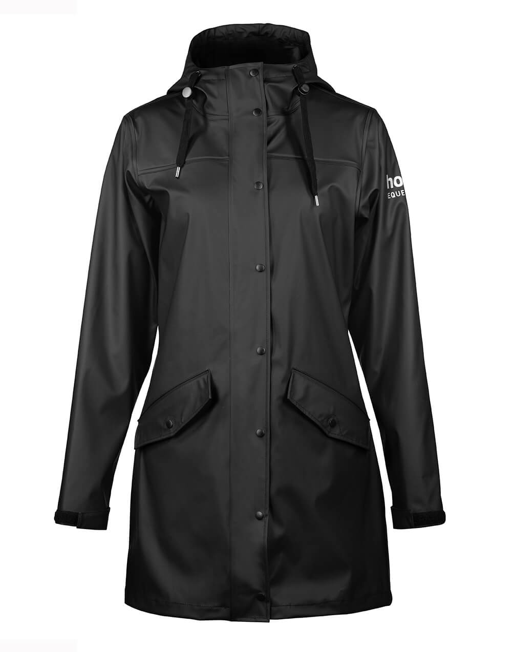High quality PU rain jacket with hoodie, big pockets and clip buttons in black