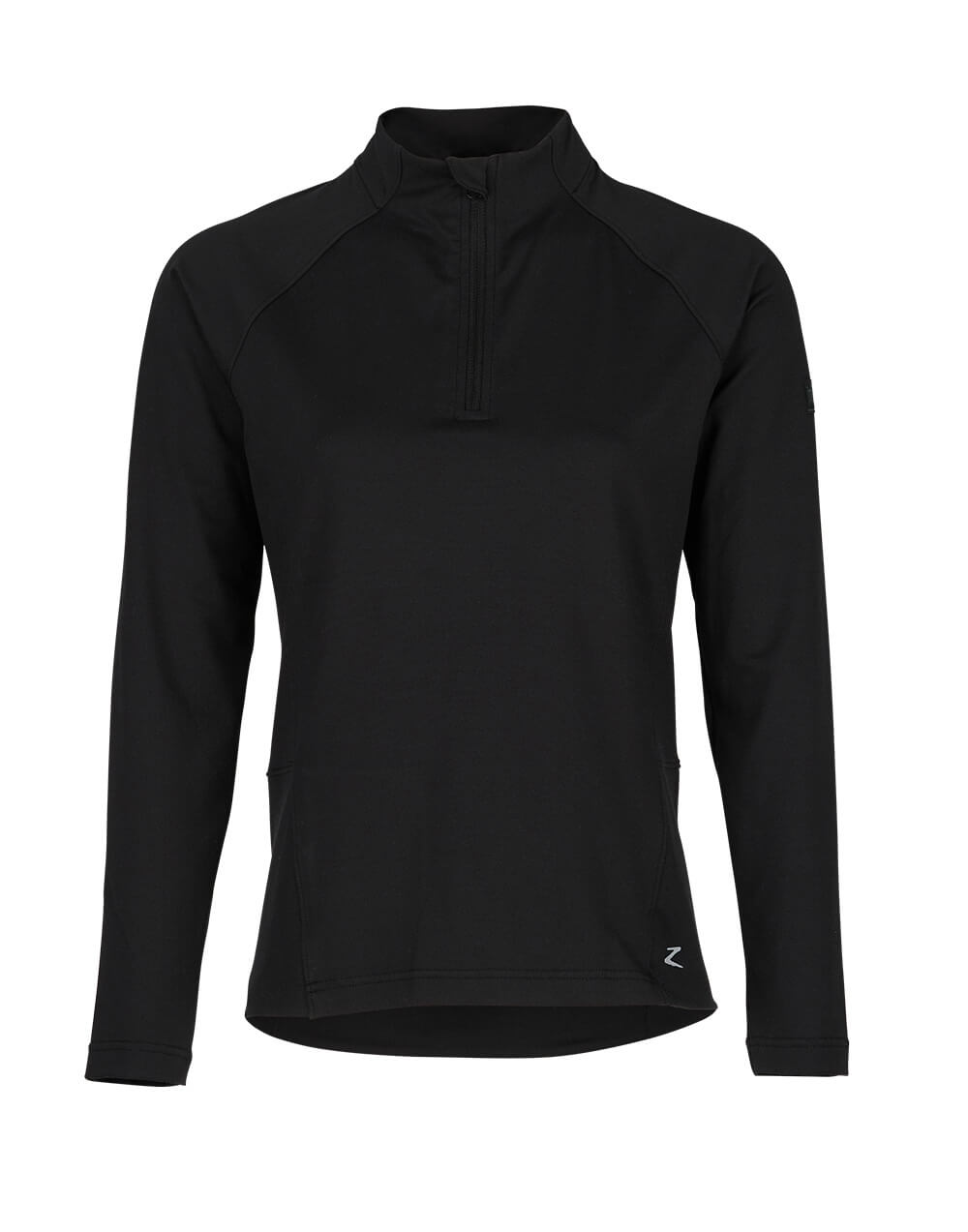 Light long sleeved training shirt with zipper at front and high collar