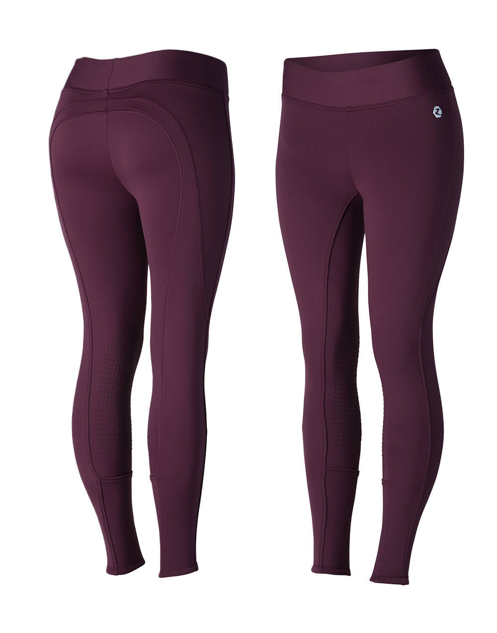 Silicone knee grip tights with fleece lining in eggplant dark purple